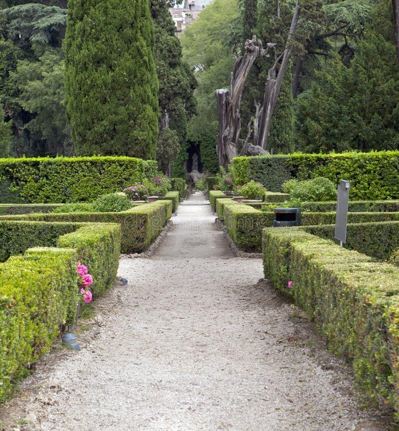 别墅d'Este16th世纪庭院,蒂沃利,意大利 科教文组织世界遗产站点 免版税库存图片