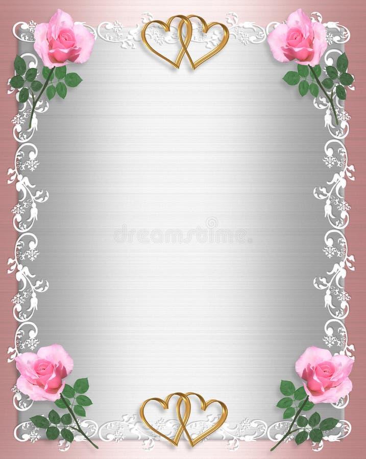 别致的邀请粉红色缎破旧的婚礼 库存例证