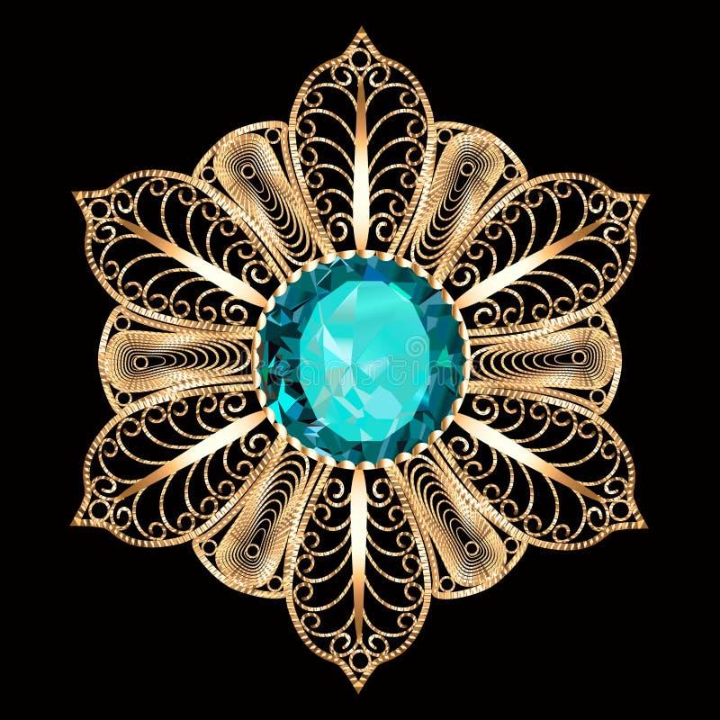 别针垂饰与和宝石 金银细丝工的维多利亚女王时代的首饰 设计要素例证图象向量 库存例证
