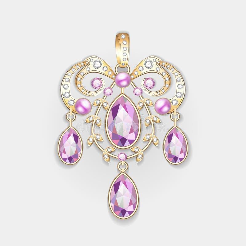 别针垂饰与和宝石 金银细丝工 皇族释放例证