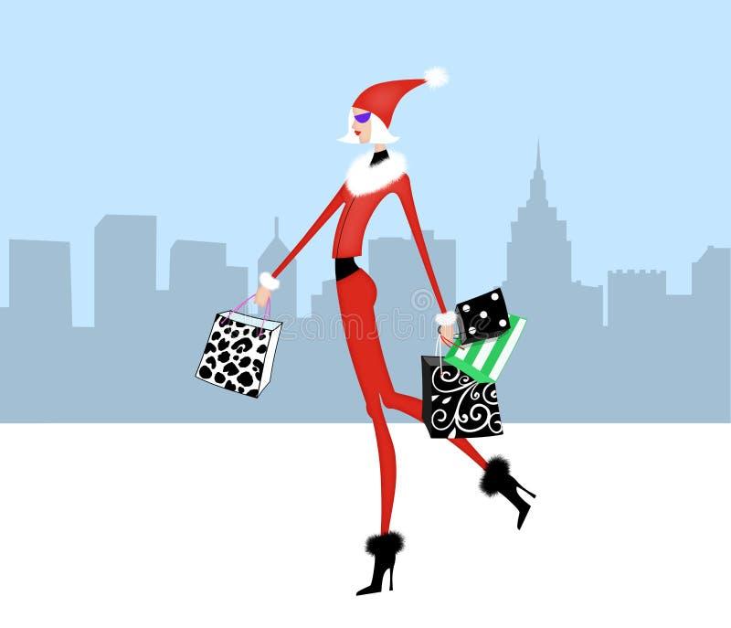别致的女孩圣诞节购物在城市 向量例证