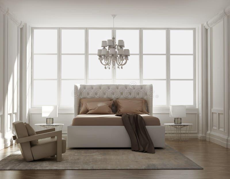 别致的经典典雅的豪华卧室 免版税图库摄影
