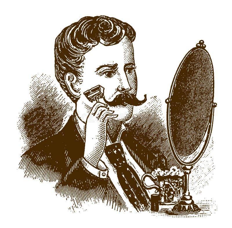 刮他的与一把保险剃须刀的历史的人胡子在镜子前面 向量例证
