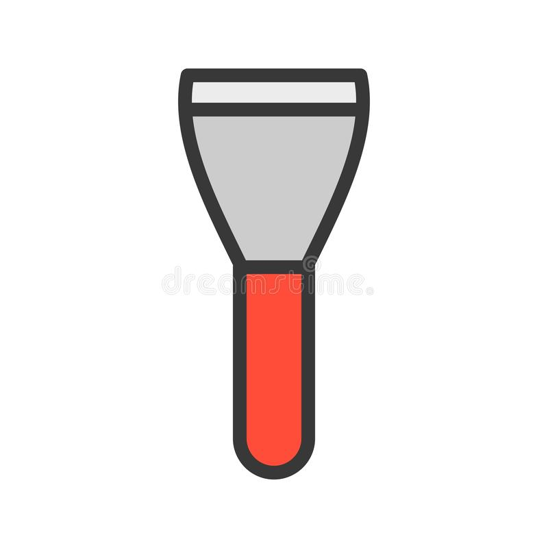 刮板、被填装的概述象、木匠和杂物工工具和设备集合 向量例证