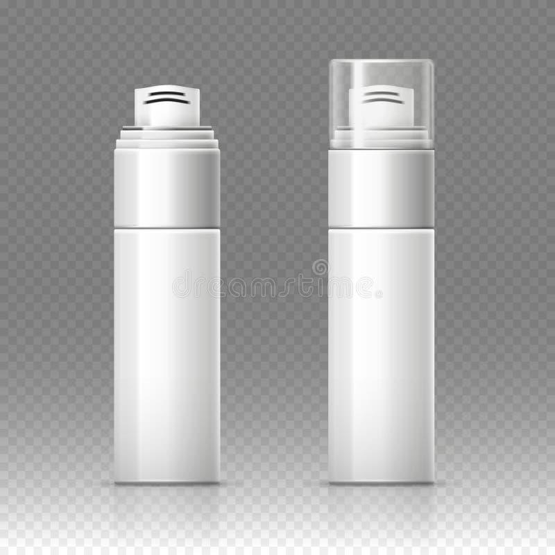 刮泡沫化妆瓶喷雾器容器导航例证 向量例证
