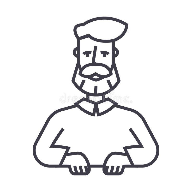 刮胡须人传染媒介线象,标志,在背景,编辑可能的冲程的例证 皇族释放例证