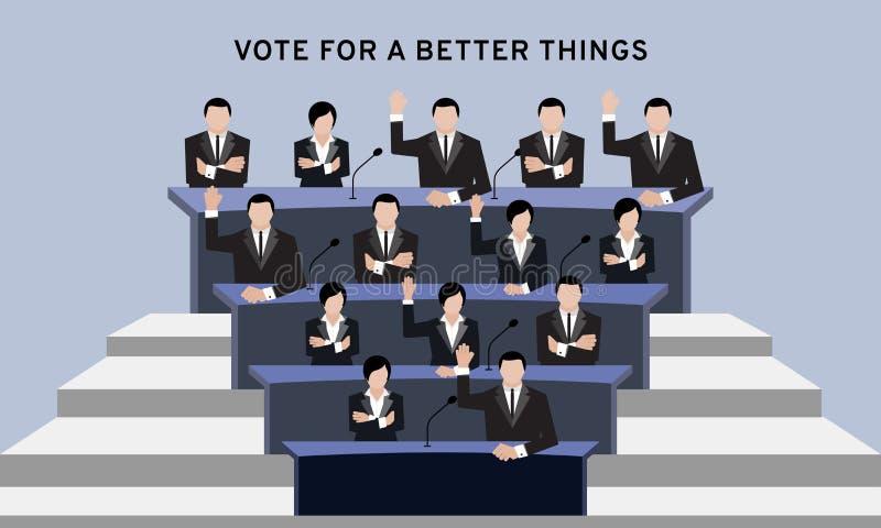 到会者或授权人在衣服手上顶上和发怒胳膊竞选和手表决的在会议室或会议ro 向量例证