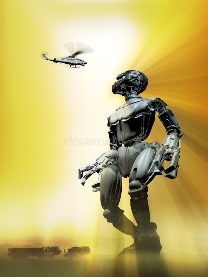 到地球的外籍人机器人参观 向量例证