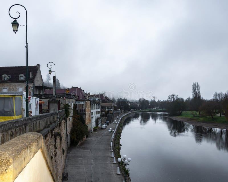 到多尔多涅省Périgord地区的旅行在阿基旃,法国 在圣Emilion中世纪村庄和利默伊之间, 免版税图库摄影