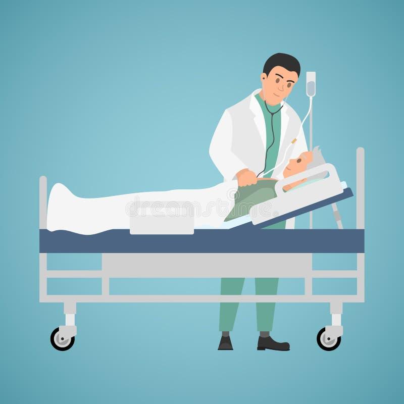 到患者的医生参观 向量例证