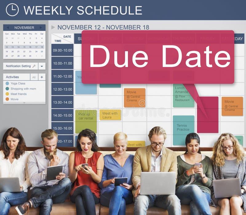 到期日最后期限日程表要做概念的日历提示 免版税库存照片