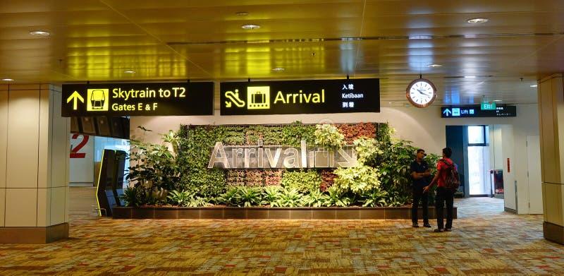 到来霍尔在樟宜机场在新加坡 图库摄影
