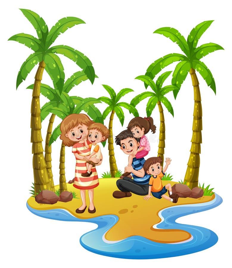 到海滩的家庭旅行 向量例证