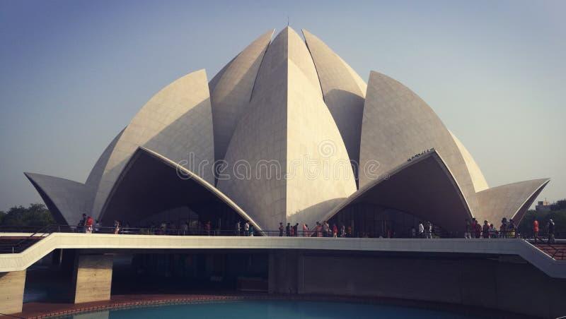 到莲花寺庙,德里,印度的参观 库存图片