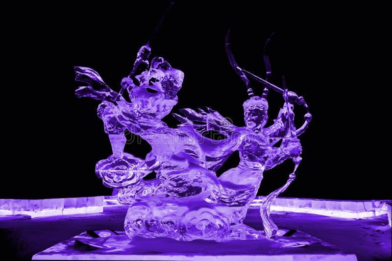 到西部兵马俑紫色的旅途 库存照片