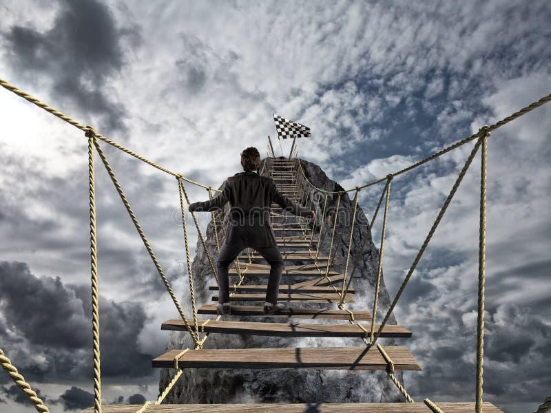 到达与困难的成功 成就企业目标和困难的事业概念 库存图片
