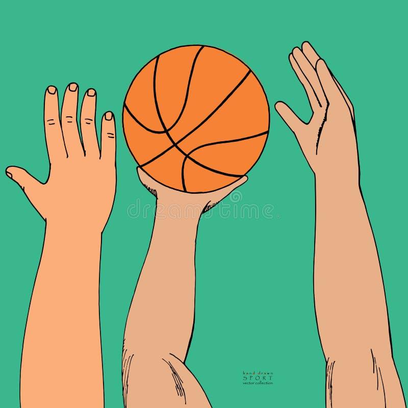 到达为篮子球的男性手 使用,举行,投掷 手拉的色的剪影 在绿色背景 皇族释放例证