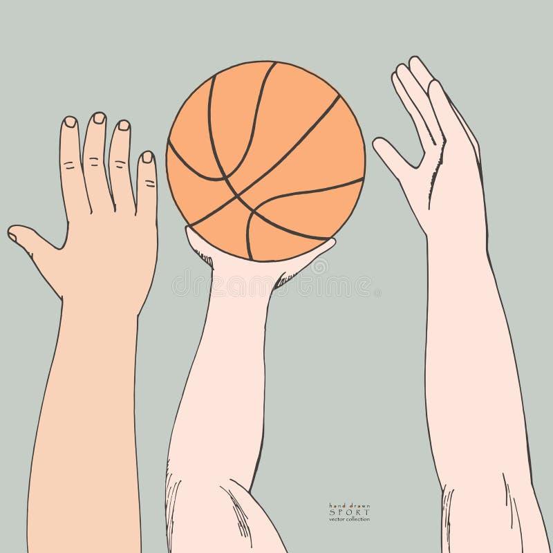 到达为篮子球的男性手 胜利的Strugglng 使用,举行,投掷 手拉的色的传染媒介剪影 皇族释放例证