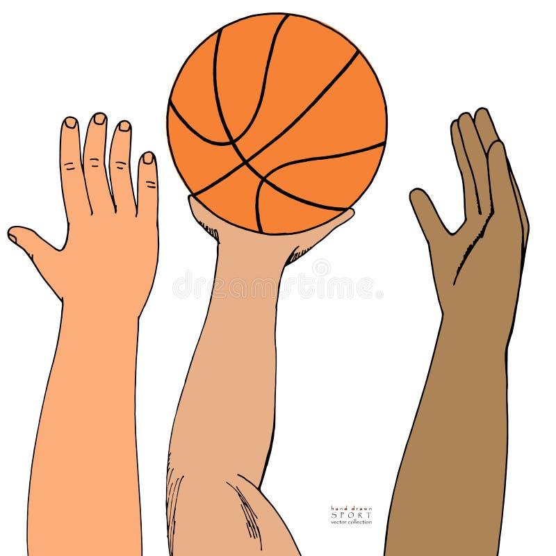 到达为篮子球的男性手 胜利的Strugglng 使用,举行,投掷 手拉的色的剪影 皇族释放例证