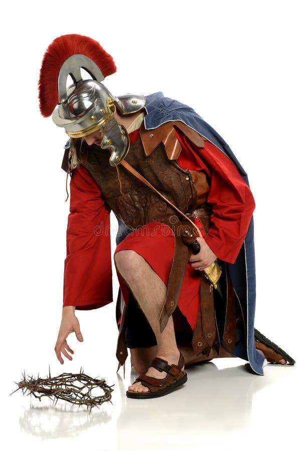 到达为铁海棠的罗马战士 免版税库存照片