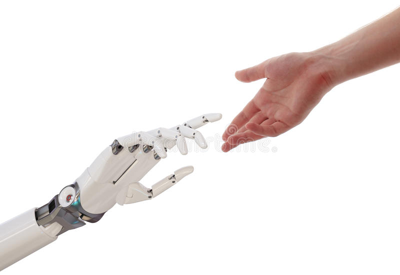 到达人工智能概念3d例证的人和机器人手 皇族释放例证