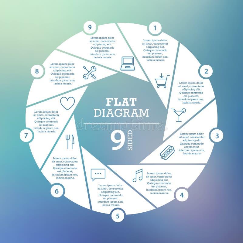 到达天空的企业概念金黄回归键所有权 圈子难题Infographic 周期图、图表、介绍和圆的图的模板 皇族释放例证