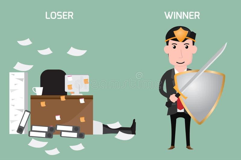 到达天空的企业概念金黄回归键所有权 失败者和优胜者 库存例证