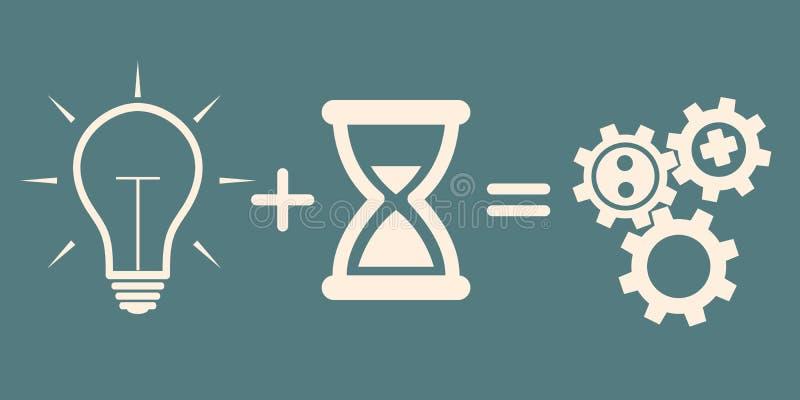 到达天空的企业概念金黄回归键所有权 想法电灯泡加上时间=齿轮机构 库存例证