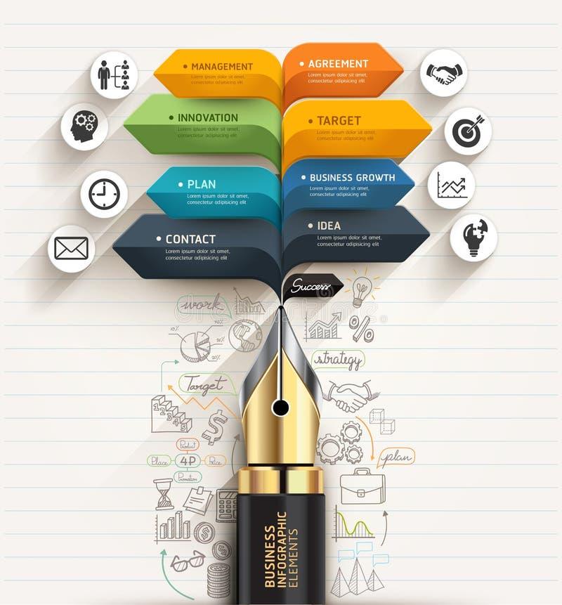 到达天空的企业概念金黄回归键所有权 笔和泡影讲话箭头模板 向量例证