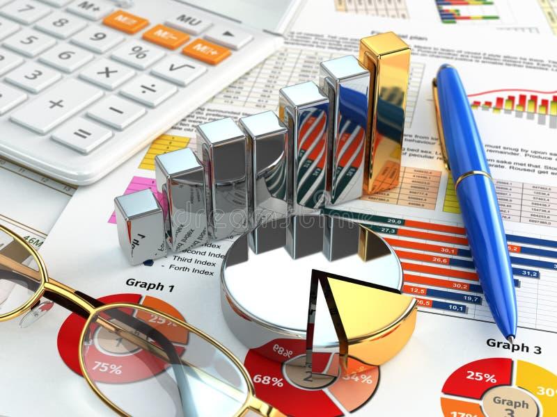到达天空的企业概念金黄回归键所有权 计算器、笔、玻璃、图表和图 库存例证
