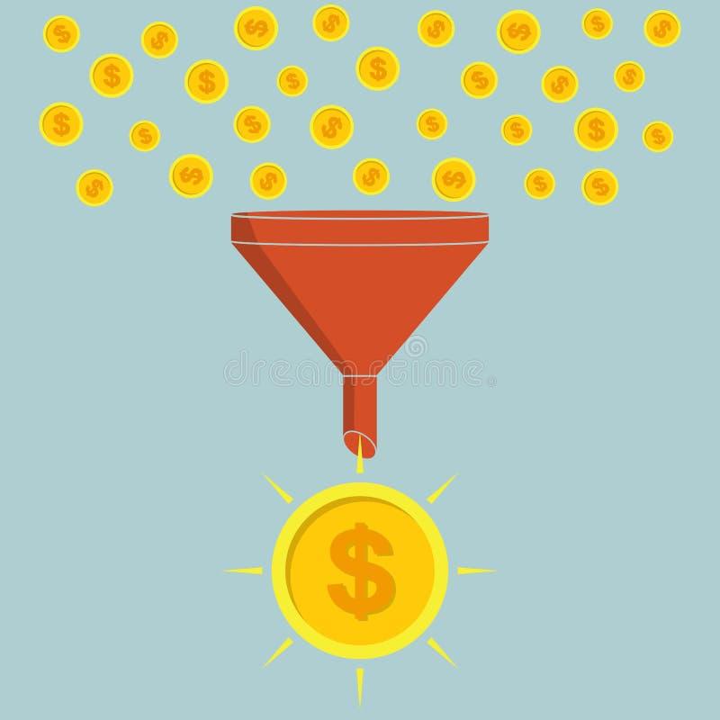 到达天空的企业概念金黄回归键所有权 集中转换小硬币成大硬币 皇族释放例证