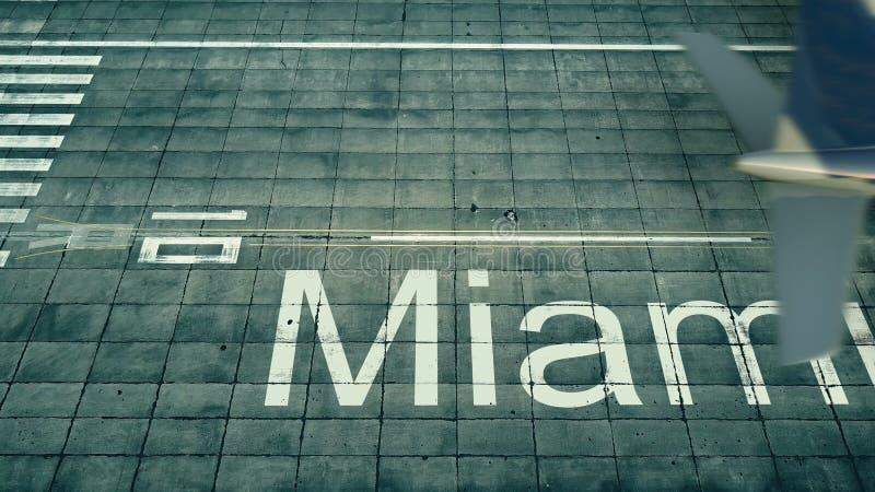 到达对迈阿密机场的飞机的鸟瞰图 对美国3D翻译的旅行 向量例证