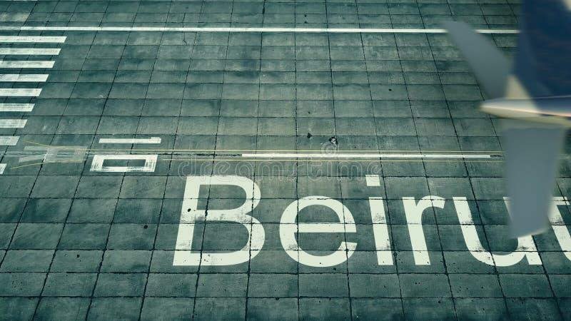 到达对贝鲁特机场的飞机的鸟瞰图 对黎巴嫩3D翻译的旅行 向量例证