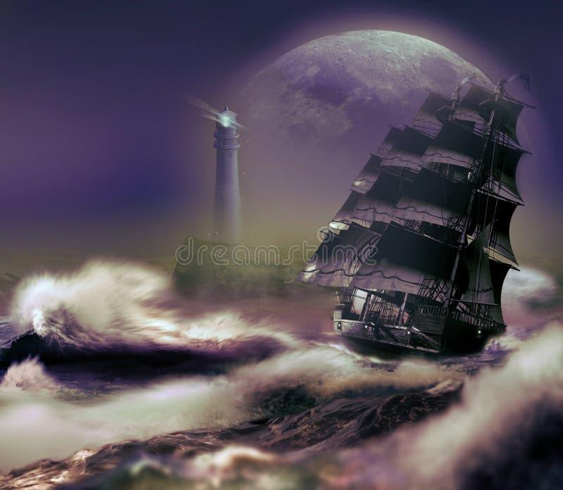 到达海岸的Suip在大月亮下 向量例证