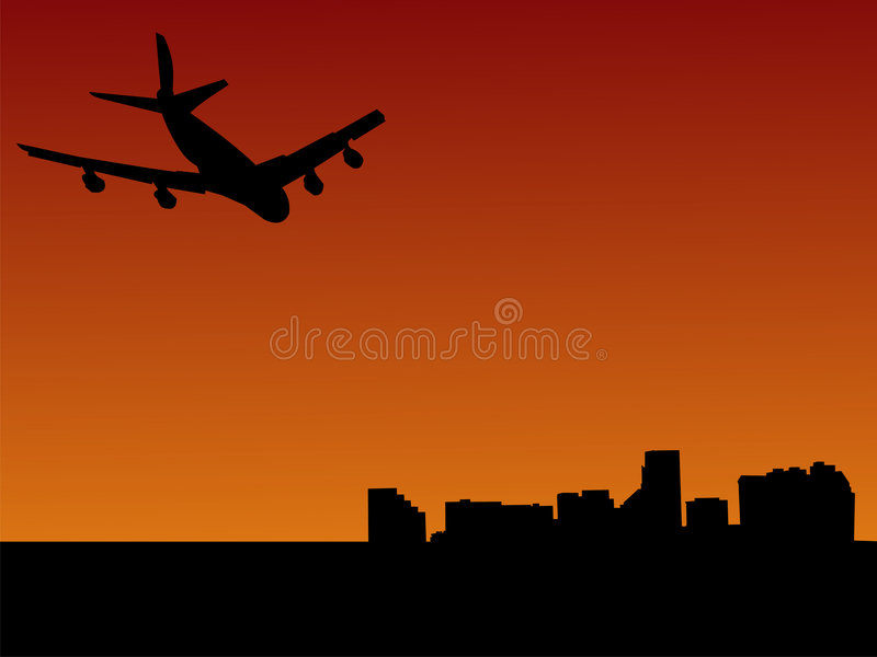 到达的巴尔的摩飞机 向量例证
