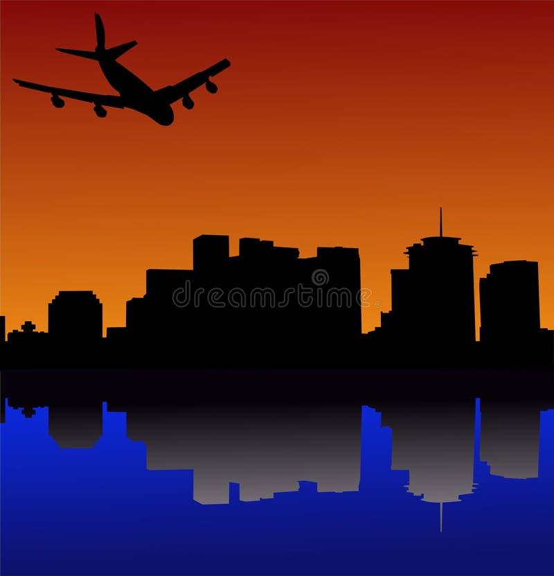 到达的新奥尔良飞机 库存例证