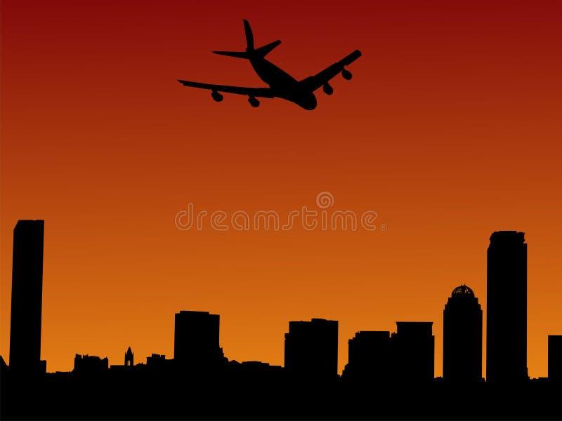 到达的波士顿飞机 库存例证