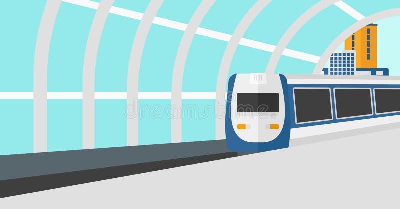 到达驻地的现代火车背景 皇族释放例证