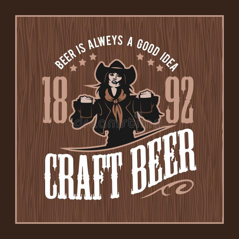 制作啤酒和女孩商标传染媒介例证,象征啤酒厂设计 向量例证