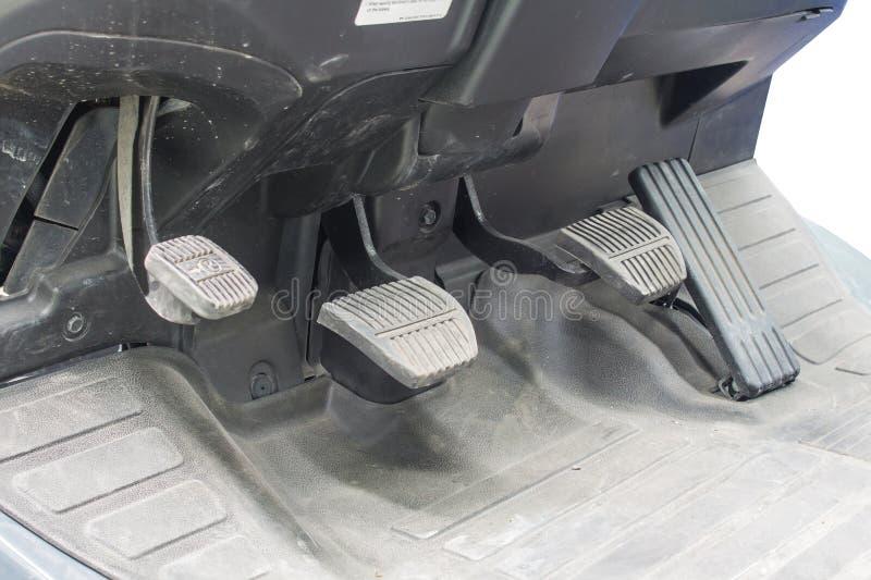 制动块和加速器在铲车 免版税库存照片