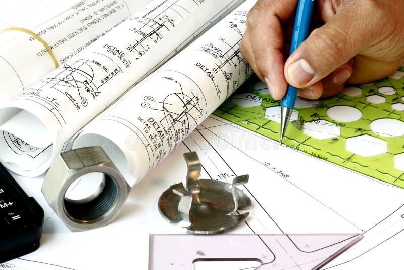 制图员工程计划 免版税库存照片