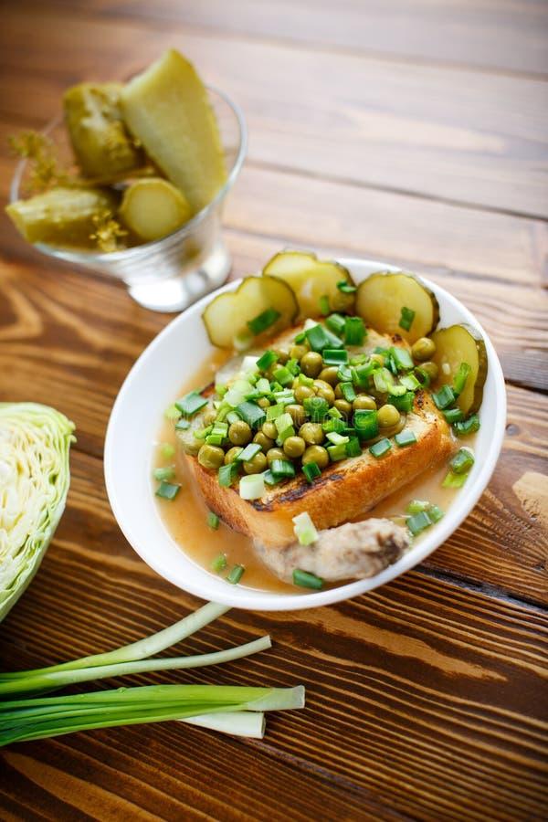 制成菜泥汤用绿豆、酱瓜和油煎方型小面包片 库存照片
