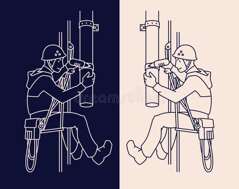 制服和盔甲的工业登山人修理排水管 皇族释放例证