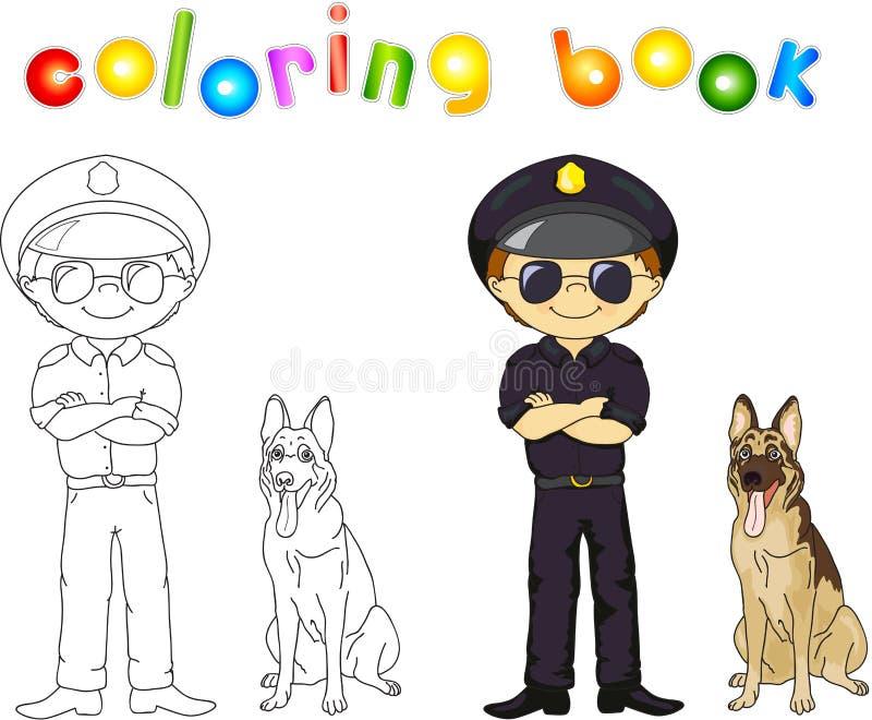 黑制服和盖帽的警察有护卫犬的 书五颜六色的彩图例证 向量例证