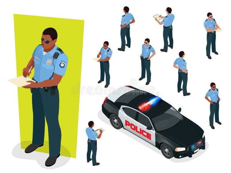 制服和警车的等量警察官员 在空白背景查出的向量例证 设计例证官员警察您 向量例证