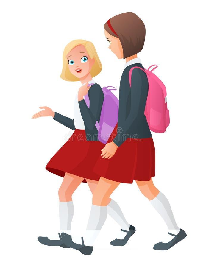 制服的两个女孩在对学校的途中 也corel凹道例证向量 向量例证