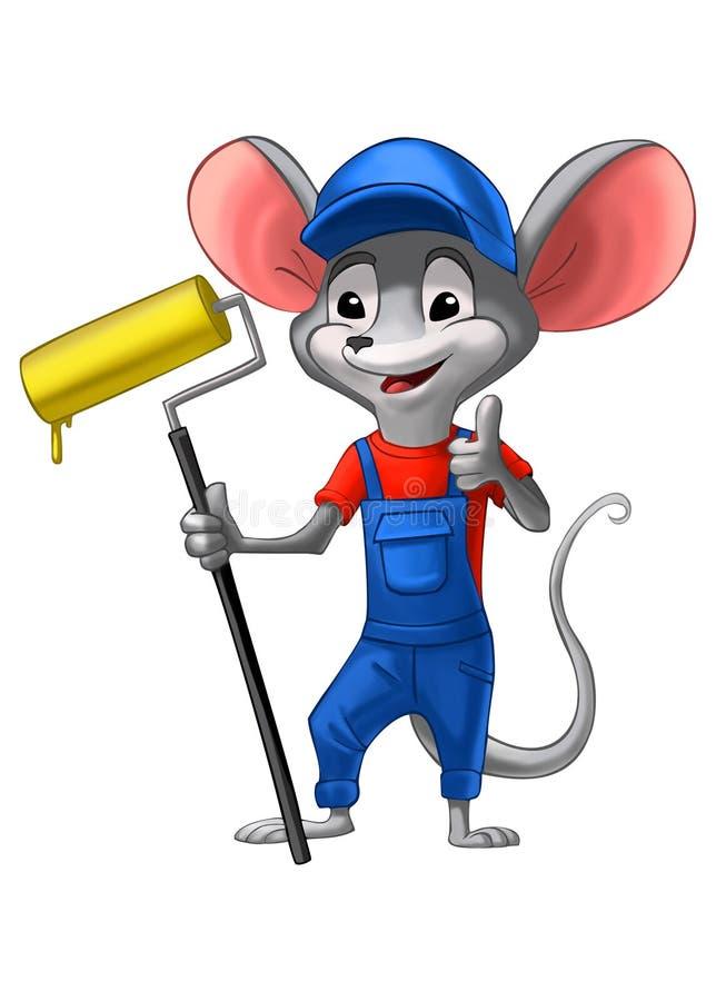 制服的老鼠画家有准备好的刷子的工作 向量例证