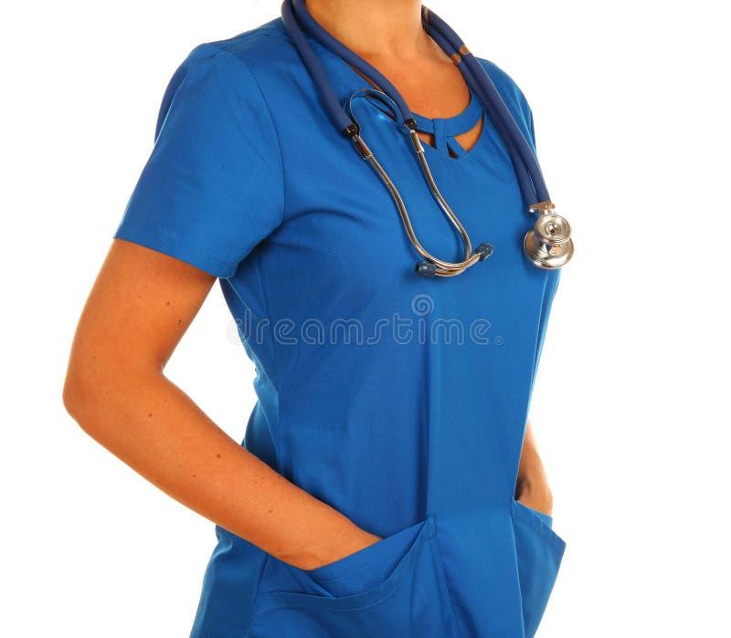 制服的医生有听诊器的 免版税库存照片
