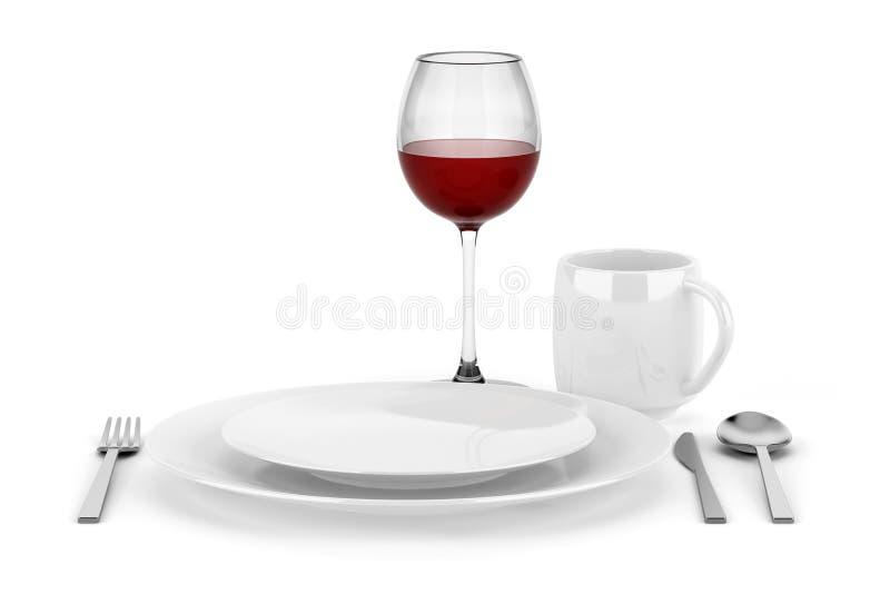 制表与红葡萄酒查出的杯的设置 向量例证