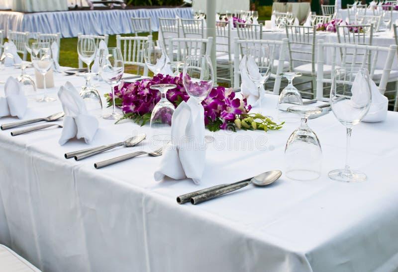 制表事件党或结婚宴会的设置 免版税图库摄影